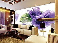 Chlwx 350cmX240cm (137.8inX94.281in) Fototapete Stereoskopischen 3D-Violetten Blüten Cup Tv Hintergrund Tapete 3D Wandbild Tapeten