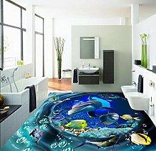 Chlwx 350cmX240cm (137.8inX94.56in) Home Dekoration 3D Individuelle Tapete Swirl Unterwasser 3D, Pvc Selbstklebend Tapeten