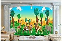 Chlwx 3D Fototapete Custom 3D Wandbilder Wandbild Tapete Wand Cartoon Tiere Tierwelt Vektor Kinder Zimmer Hintergrund Wandbild 400Cmx280Cm