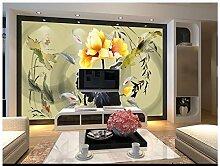 Chlwx 3D Wallpaper 3D Wandbilder Tapeten Für Wände 3D-Chinesischen Feng Shui Tinte Lotus Karpfen Schwimmen Hintergrund Wandmalereien Home Decor 200Cmx150Cm