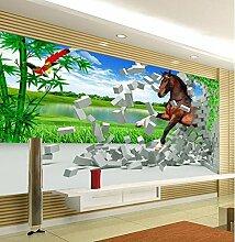 Chlwx 3D Wallpaper Benutzerdefinierte Pferd 3D-Hintergrund Tapete 300Cmx200Cm