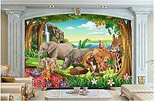Chlwx 3D Wallpaper Custom 3D Wandbilder Wallpaper Wandbild Tiere Tapete Handbemalte Tv Einstellung Wand Wohnzimmer Hintergrund Wand Dekor 350Cmx240Cm