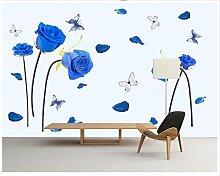 Chlwx 3D-Wandbilder Tapeten Benutzerdefinierte Bild Wandbild Tapete Blue Rose Schmetterling Schlafzimmer Tv Hintergrund Tapete Wand Dekor 300Cmx200Cm
