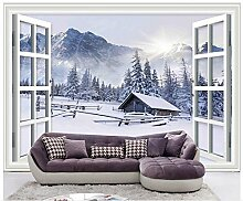Chlwx 400cmX280cm (157.5inX110.104in) Home Dekoration 3D Wallpaper 3D Windows Schneeflocken Hintergrund Wand Foto Wallpaper