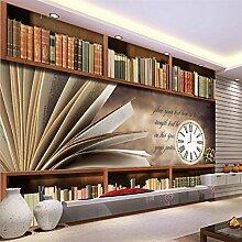 Chlwx Custom 3D-Tapete Retro Bücherregal Regale Tapete Tapete Wohnzimmer Schlafzimmer Tv-Wand Dekoration 200Cmx150Cm