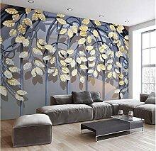 Chlwx Custom 3D-Tapete Retro Eisen Gold Leaf 3D-Freien Sofa Im Wohnzimmer Schlafzimmer Studie Tv Hintergrund Wanddekoration 350Cmx240Cm