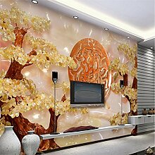 Chlwx Custom 3D Wall Paper Jadeschnitzerei Lucky Schatz In Reichtum Baum Tapete Wohnzimmer Sofa Tv Hintergrund Wand 400Cmx280Cm