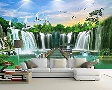 Chlwx Custom 3D Wallpaper Für Wände 3D Wandbilder Tapeten Wasserfall Landschaft Wandmalerei Hintergrund 3D-Wand Schlafzimmer Tapete 350Cmx240Cm