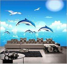 Chlwx Custom 3D Wallpaper Wohnzimmer Hintergrund Wandbilder | Kinderzimmer Tapete Wandbilder | Custom Delphine Springen Wandmalereien 350Cmx240Cm