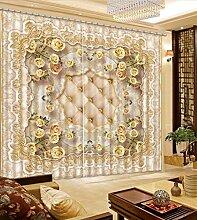 Chlwx European Gold Rose Luxus Vorhänge Weichen Muster 3D Verdunkelungsvorhänge Mode Home Dekoration Fenster Vorhänge 260cmX300cm 2 Pieces