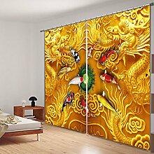 Chlwx Gold Pferd 3D Fenster Vorhänge Für