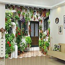 Chlwx Hotel Cafe 3D-Gardinen Blumen Hintergrund Wall Street View Pattern Stoff Vorhang Auf Für Wohnzimmer Schlafzimmer HeimtextilienHöhe260cm X Breite240cm