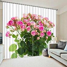 Chlwx Modern Romantisch Rosa Rose 3D-Luxus Fenster Vorhänge Für Betten Wohnzimmer Hotel VorhängeHöhe260cm X Breite240cm