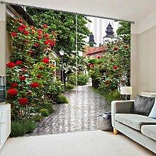 Chlwx Rosa Blüten 3D Moderne Fenster Vorhänge Für Betten Wohnzimmer Hotel Vorhänge Tapeten Wand DekorativeHöhe260cm X Breite240cm