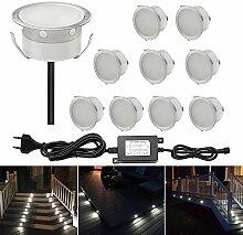 CHNXU 10er Set LED Boden Einbaustrahler Ø40mm