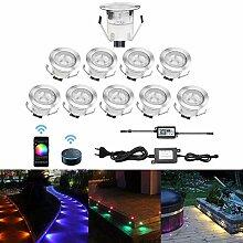 CHNXU 10er Set LED Bodeneinbauleuchte, WiFi RGB
