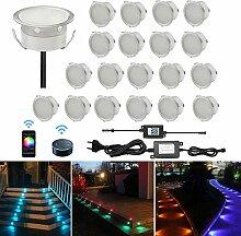 CHNXU 20er Set LED Boden Einbaustrahler RGB WiFi