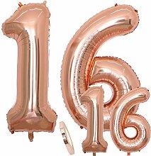 cholinchin Luftballons Zahl 16 Geburtstag XXL Rose