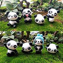 Chris.W 8 Stück Puppenhaus Miniatur-Panda Figuren