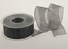 Christa-Bänder Trauerband Organza, grau 40 mm mit