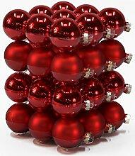 Christbaumkugel aus Glas - 36 Stück - Rot