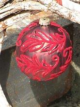 Christbaumkugel aus Glas, Samtrot mit Blattmuster