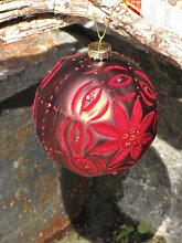Christbaumkugel aus Glas, Samtrot mit Blume