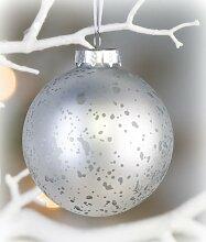 Christbaumkugel aus Glas silber 6 cm 2er-Set