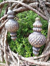Christbaumkugel Kegel Barock, grau-gold (Kegel