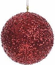 Christbaumkugel mit Pailletten, 20 cm, Ro