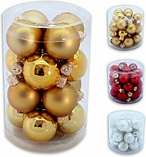 Christbaumkugel Sets 16 oder 24 in Gold, Rot oder