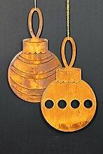Christbaumkugeln Set 2 x 24cm Metall Rost Gartendeko Edelros
