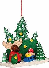 Christbaumschmuck Elch Weihnachtsmann im Wald -