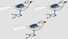 Christbaumschmuck Glas Vogel Set 3 Stück Silber /