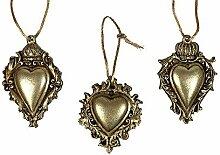Christbaumschmuck Herz mit Krone Gold 3 Stück