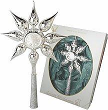 Christbaumspitze glänzend Silber mit Dekor, 30 cm