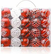 Christmas Ball Ornament, Geschenkbox 20 Gold Silber, 6cm Weihnachtsbaum Ornamente hängende Stücke, Heimtextilien Aktivitäten, rot und weiß