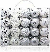 Christmas Ball Ornament, Geschenkbox 20 Gold Silber, 6cm Weihnachtsbaum Ornamente hängende Stücke, Heimtextilien Aktivitäten, Silvery White