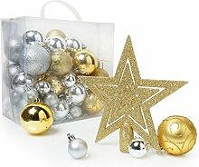Christmas Shop Weihnachtsbaum Dekoration (50 Stück) (Einheitsgröße) (Gold/Silber)