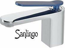 Chrom Blau Design Einhebel Badezimmer Bad Armatur mit Waschbecken Sanlingo Rainbow