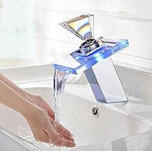 Chrom-Politur LED Waschbecken Wasserhahn