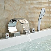 Chrom Roman Tub Faucet Deck montiert verbreiteten Drei Griffe 5 Stück Mischbatterie Badewanne mit Handdusche Kunststoff