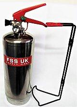Chrom Silber Finish FSS UK PLUS 2kg ABC Dry Powder Feuerlöscher. CE. Ideal für Haushalte Küche Arbeitsplatz Büros Autos Vans Boote Lager Garagen Hotels Restaurants