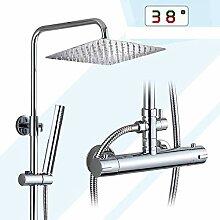 Chrom Thermostat Badezimmer Dusche Wasserhahn Set
