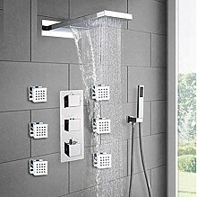 Chrom Thermostat Duscharmaturen Set Regen