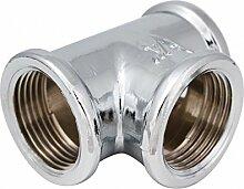 Chrom Wasser Rohr Equal T-Stück 1/5,1cm BSP Gewinde Buchse Anschluss Schlauch Ventil