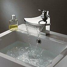 Chrom-zeitgenössische Wasserfall Waschtischarmatur mit Kupfer Ventilloch, Armaturen, Bad/Küche Wasserhahn/tap