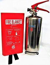 Chrome Finish FSS UK PLUS 2kg ABC Dry Powder Feuerlöscher mit Fire Decke. Die britischen Standard CE. Ideal für Haushalte Küchen Arbeitsplatz Werkstatt Büros Cars Vans Lagerhallen Garagen Hotels Restaurants