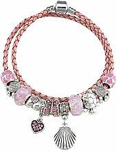ChuangYing DIY-Rosa Glas Perlen Armband Krone