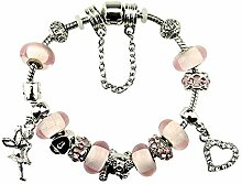 ChuangYing Rosa Kristall Glas Perlen Armband mit